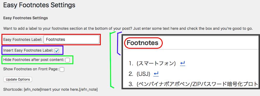 Easy Footnotesの設定画面